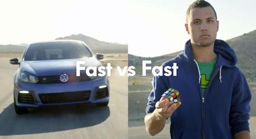 Fast vs. Fast – Volkswagen Golf R vs. Speed Rubik's Cuber