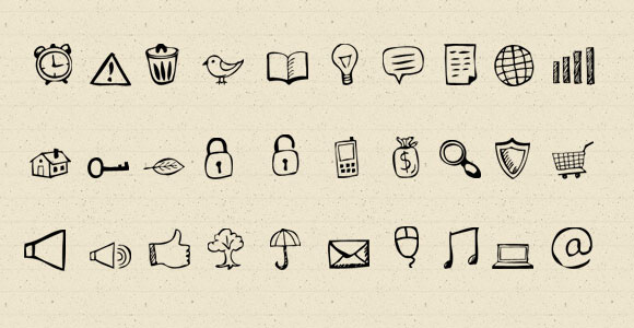 30 hand drawn style icons