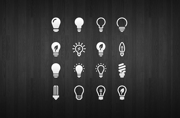 16 light bulb icon set