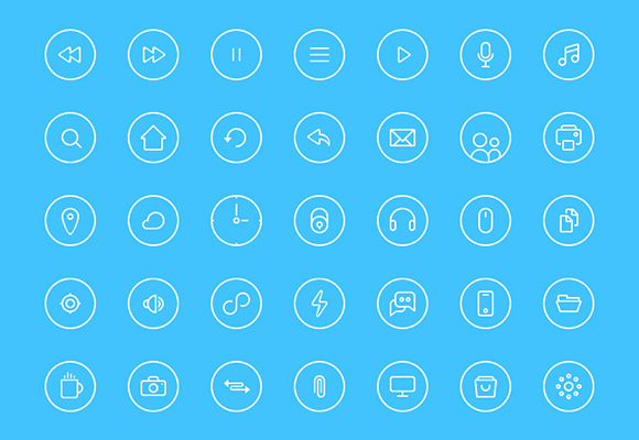 35 thin rounded icons