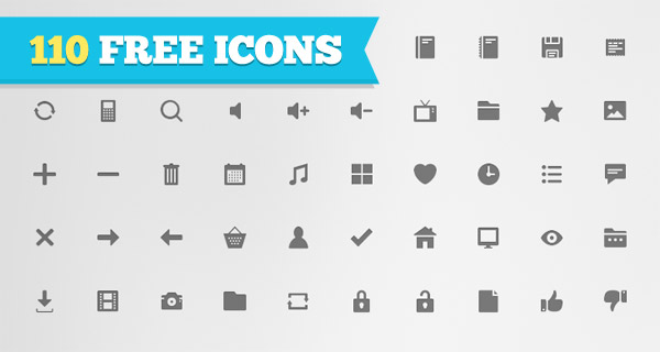 Free Download: 110 Flat Icons For Personal or Commercial Use