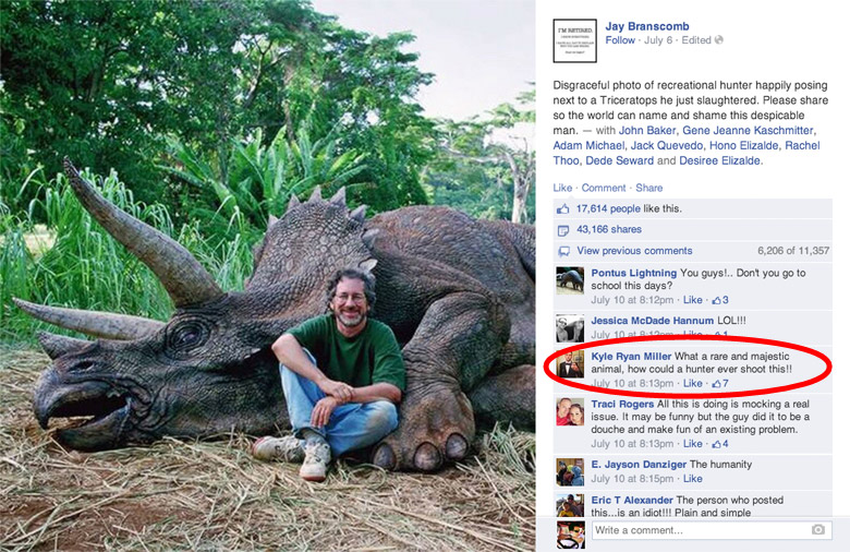 Steven Spielberg Criticized On Facebook For Killing Dinosaur, Photo Goes Viral Online