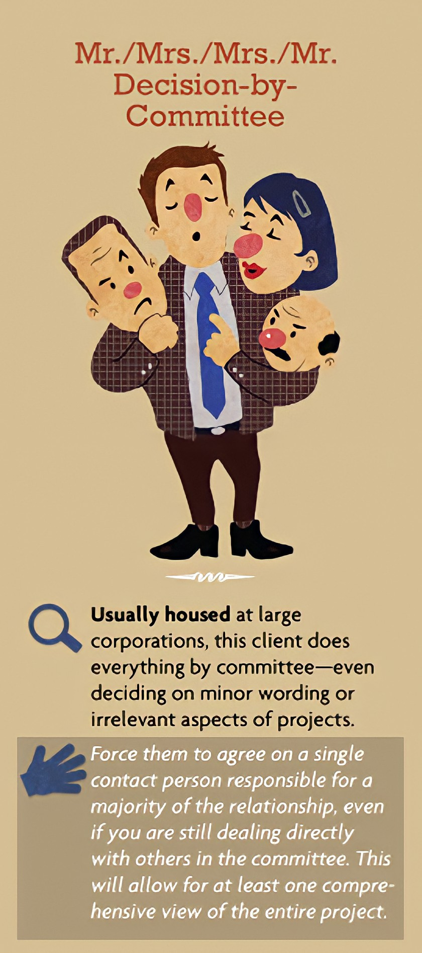 Types of difficult clients - Mr./Mrs./Mrs./Mr. Decision-by-Committee