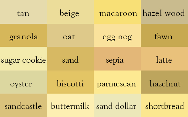 Color Thesaurus Correct Names Of Shades Tan