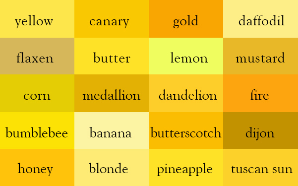 Color Thesaurus Correct Names Of Shades Yellow