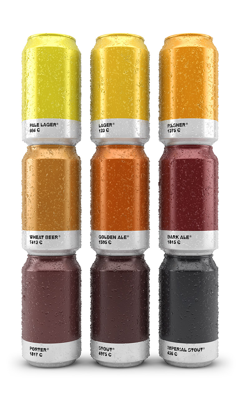 Pantone Color Beer Can & Bottle Packaging