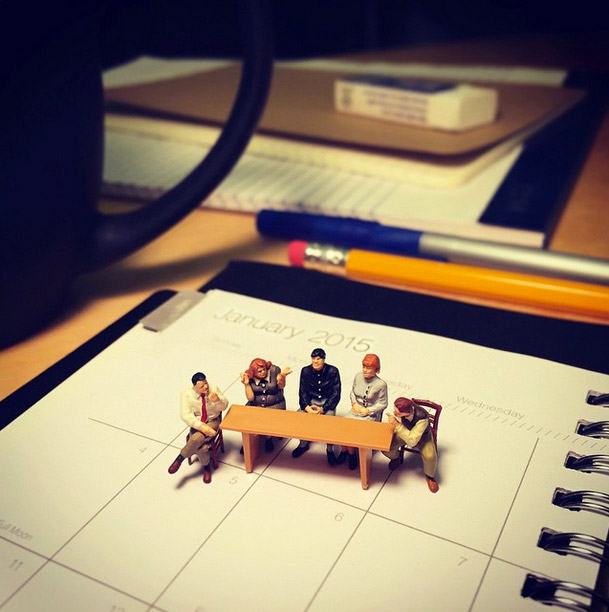 Life In An Agency, Miniature Figure Photographs - 1