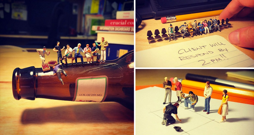 these clever photos of miniature figures take you through