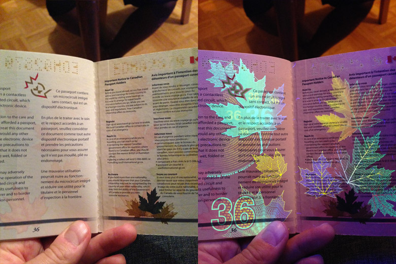 New Canadian Passport Under A Black Light - 8