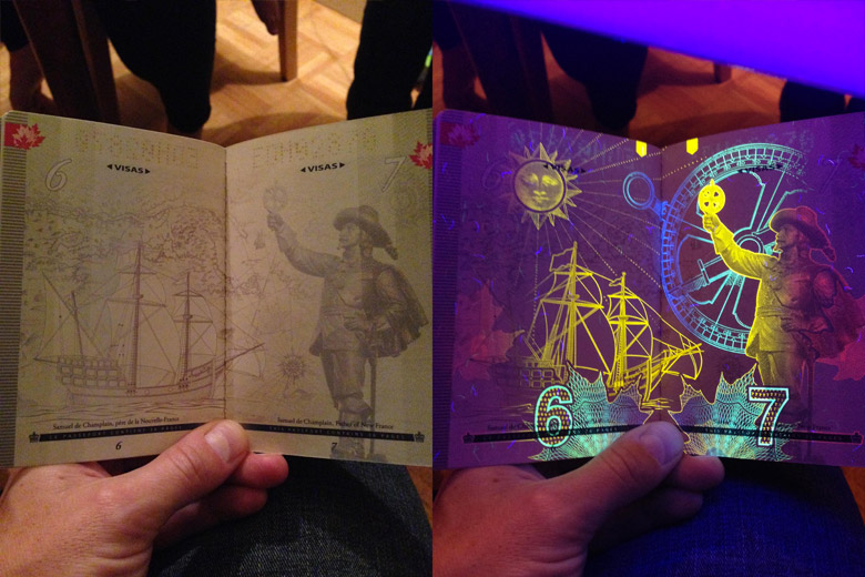 New Canadian Passport Under A Black Light - 2