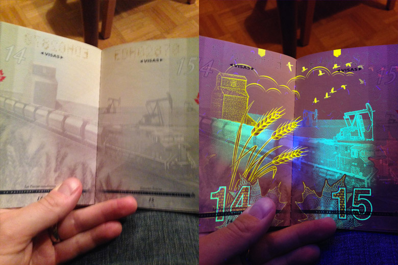 New Canadian Passport Under A Black Light - 3