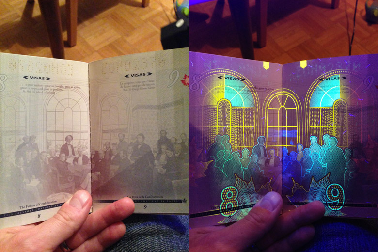New Canadian Passport Under A Black Light - 4