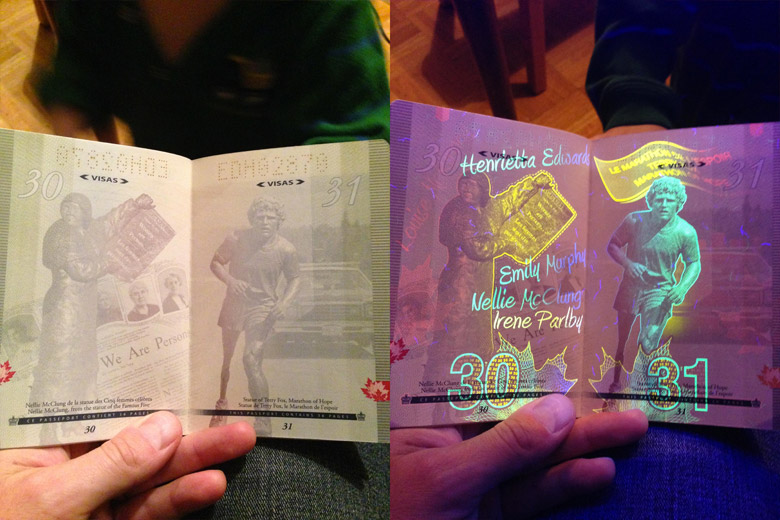 New Canadian Passport Under A Black Light - 5