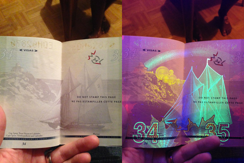 New Canadian Passport Under A Black Light - 6