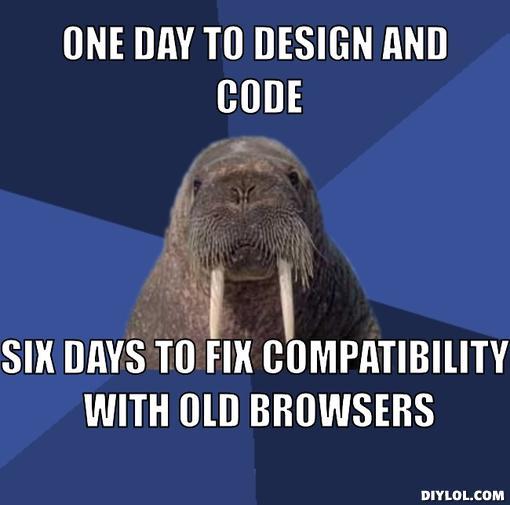 Funny Web Designer Jokes & Developer Humour - Old browser compatibility