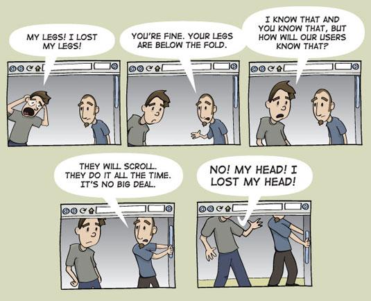 Funny Web Designer Jokes & Developer Humour - Above, below the fold