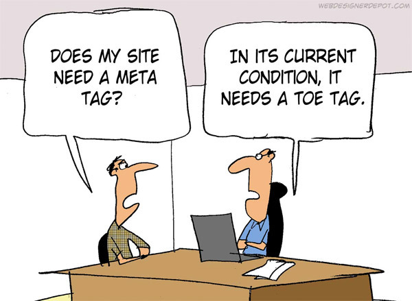 Funny Web Designer Jokes & Developer Humour - Meta tag vs toe tag