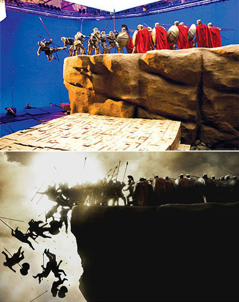 300: Before and after green screen + CGI