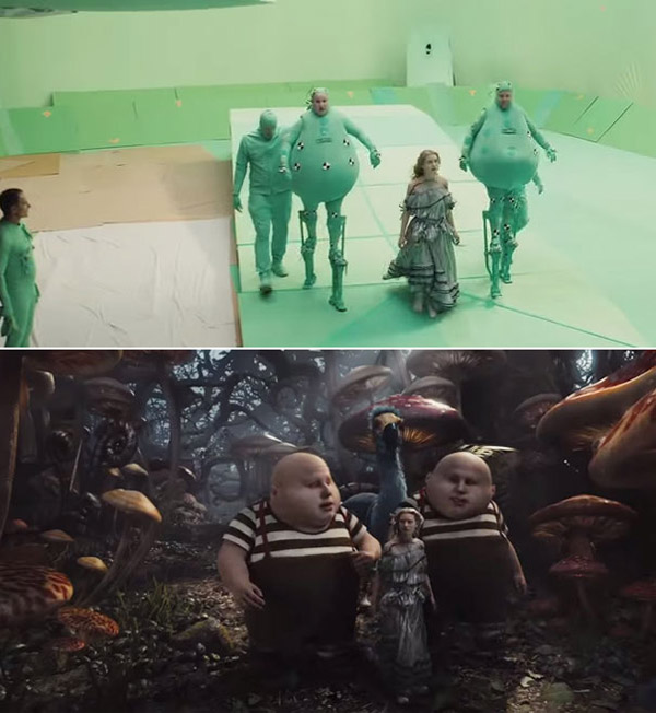Alice in Wonderland: Before and after green screen + CGI (1)