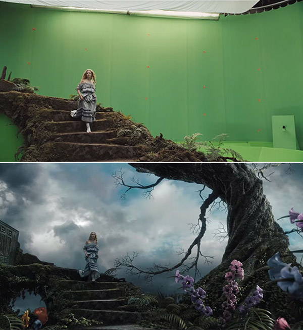 Alice in Wonderland: Before and after green screen + CGI (2)