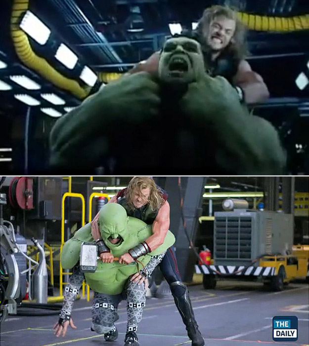 Avengers: Before and after green screen + CGI (2)