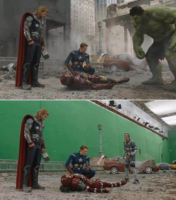 Avengers: Before and after green screen + CGI (4)