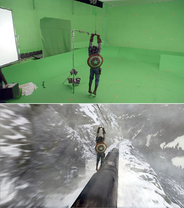 Captain America: Before and after green screen + CGI (1)