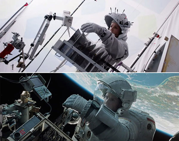Gravity: Before and after green screen + CGI