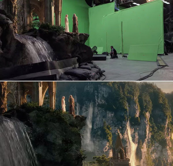 The Hobbit: Before and after green screen + CGI