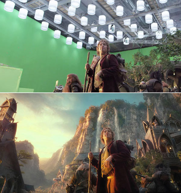 The Hobbit: Before and after green screen + CGI (3)
