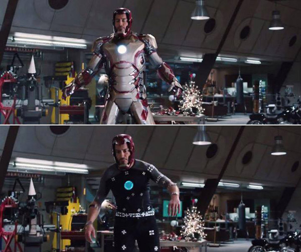 Iron Man: Before and after green screen + CGI