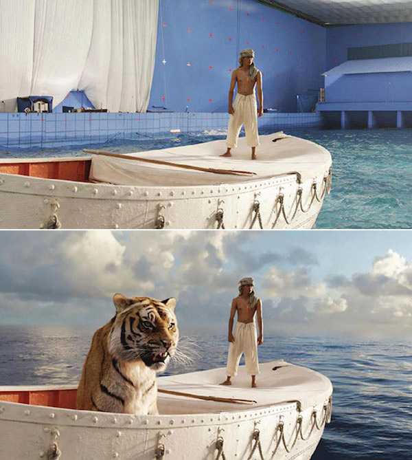 Life of Pi: Before and after green screen + CGI
