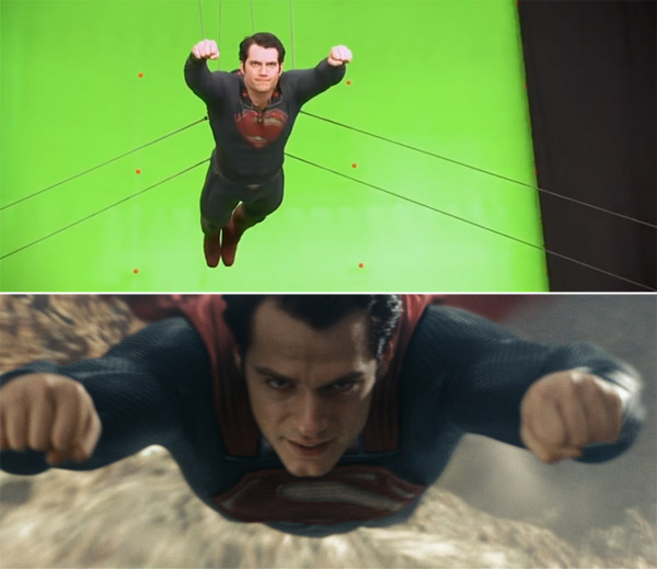 Man of Steel: Before and after green screen + CGI