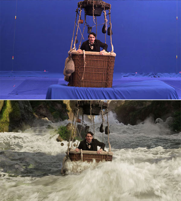 Oz the Great and Powerful: Before and after green screen + CGI