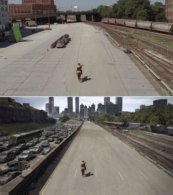 The Walking Dead: Before and after green screen + CGI