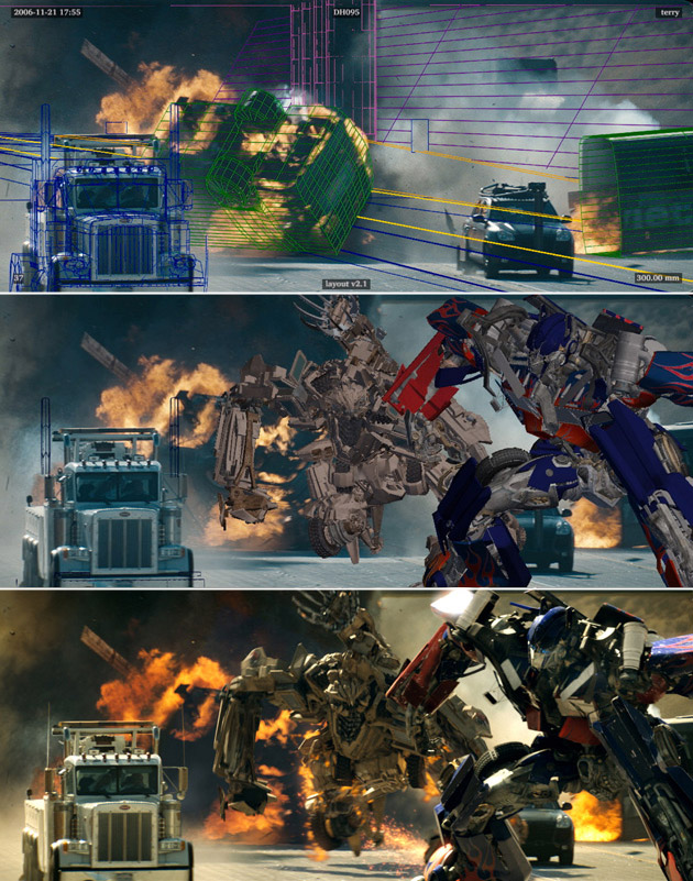 Transformers: Before and after green screen + CGI