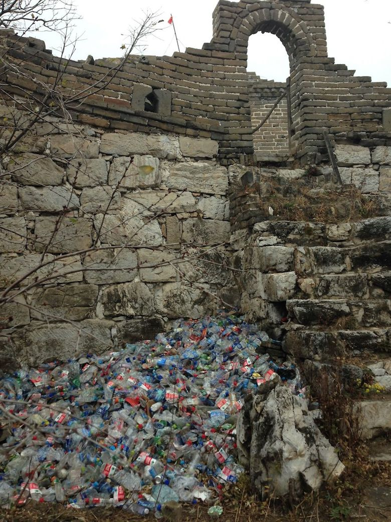 Every day trash at the Great Wall Of China