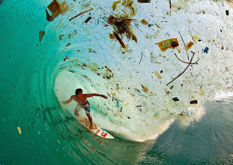 A wave full of trash in Java, Indonesia (the world's most populated island)