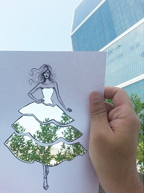 Fashion Cut-Out Sketches Completed Using Skies And Sceneries - 2