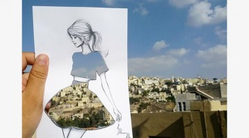 This Artist Completes His Cut-Out Sketches Using Skies And Sceneries As Backdrops