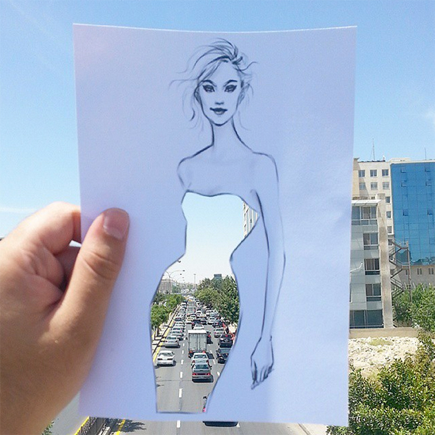 fashion cut out sketches completed using skies and sceneries 5