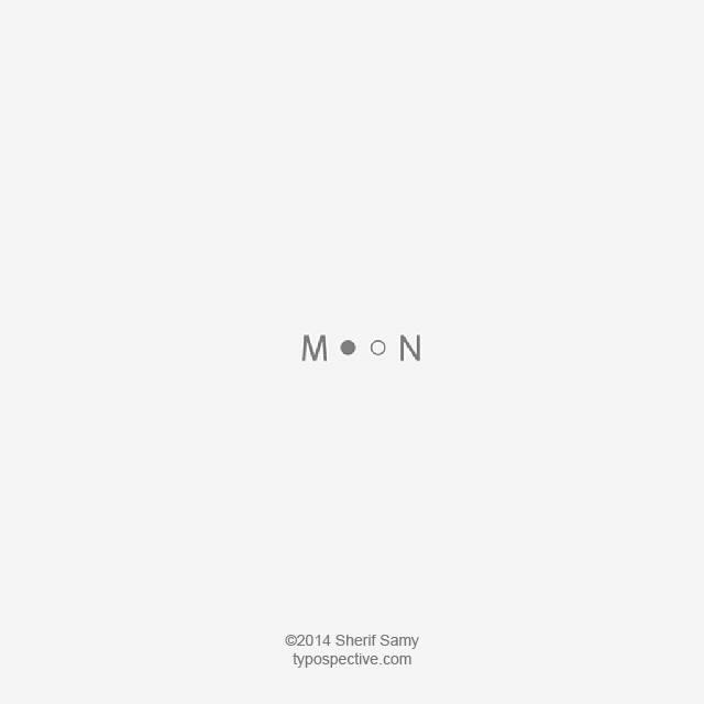 Minimal Type Art Using Letters, Symbols On Mobile Keypad - Moon