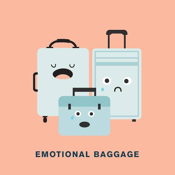 'Emotional baggage' from Punny Pixels, an illustrated series of visual puns.