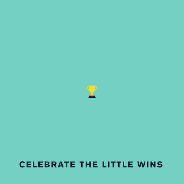 'Celebrate the little wins' by Punny Pixels, an illustrated series of visual puns.