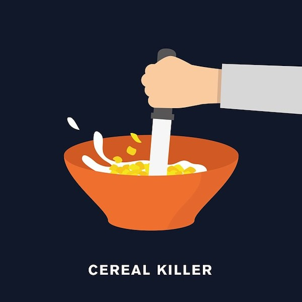 'Cereal killer' from Punny Pixels, an illustrated series of visual puns.