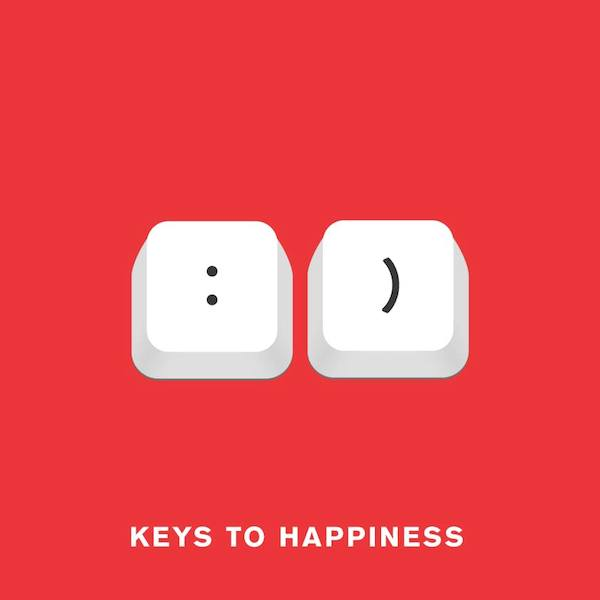 'Keys to happiness' from Punny Pixels, an illustrated series of visual puns.