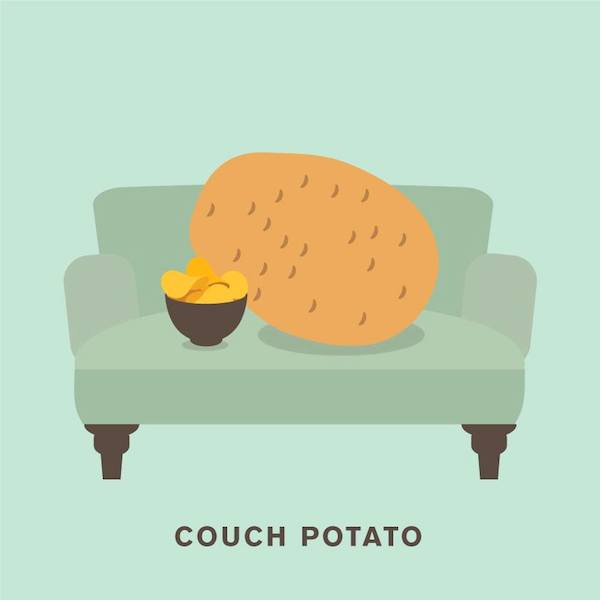 'Couch potato' from Punny Pixels, an illustrated series of visual puns.