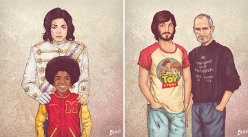 Celebrities Pose With Their Younger Selves In These Amazing Illustrations By Fulvio Obregon