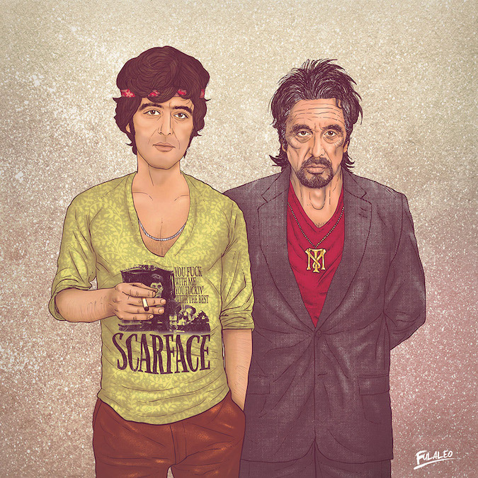 Al Pacino: Before and After Illustration by Fulvio Obregon