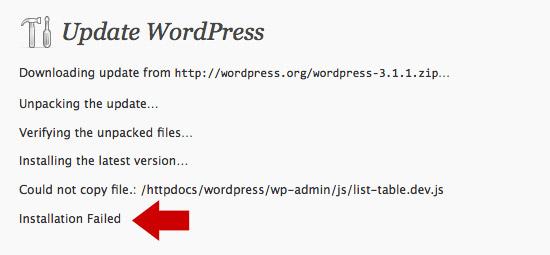 Update WordPress. Installation failed.